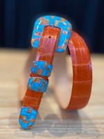 Rafter N Gems Red Orange/Turquoise Sterling Silver 4pc. Buckle Set