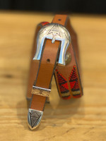 Charlie Hunt Red Brown Sterling Silver 3pc. Buckle Belt