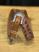 Charlie Hunt Purple Red Brown Sterling Silver 3pc. Buckle Belt