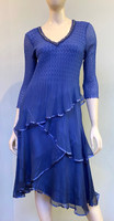 Komarov Tiered Asymmetric Dress - Fregatta Blue Ombre