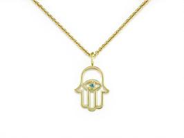 Ruth Taubman 18K Yellow Gold and  Blue Diamond Hamsa Pendant