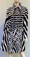 Pologeorgis Reversible Zebra Print Fur Coat - Black