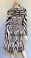 Pologeorgis Reversible Zebra Print Fur Coat - Brown