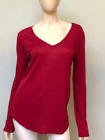 Majestic Long Sleeve V-Neckline Top in Grenade