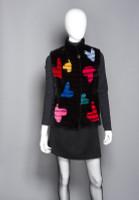 """Zuki Sheared Beaver Laser Cut """"Heart"""" Vest with Mandarin Collar"""