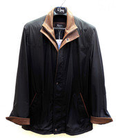Remy Leather Men's Button-Down Coat-INK/RUSTIC