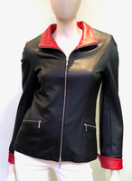 Lyn Leather Katie Jacket - Black Nappa/Red Nappa