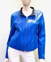 Tess Reversible Leather Coat- Blue/Black