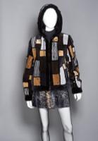 "Zuki Sheared Beaver ""Phoenix"" Patterned Bomber Jacket with Stones"