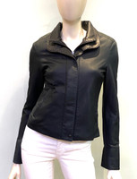 Remy Double Collar Leather Jacket-Navy/Noir