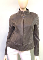 Remy Stand-Up Collar Leather Jacket-Granite/ Coal
