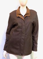 Remy Double Collar Leather Jacket-Chocolate/Chutney