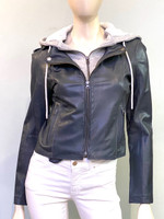 jkt faux layer Moto Jacket - Slate