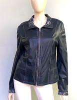 Alice Arthur Navy Leather Jacket