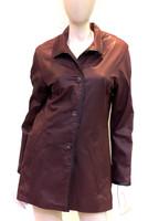 Remy Leather Swing Coat- Oxblood/ Noir