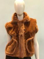Musi Sleeveless Short Fur Coat - Brown