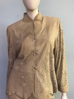 Jan Faulkner Pearl Studded Suede Blouse