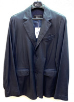 Remy Men's Two Button Leather Blazer- Navy/Noir