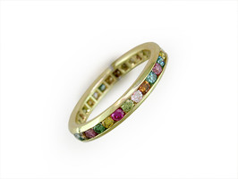 Ruth Taubman 18K Yellow Gold Multicolor Channel Set Eternity Ring