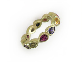 Ruth Taubman 18K Yellow Gold Pear Shape Bezel Set Sapphire Eternity Ring