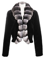 Black/Natural Sheared Mink Coat
