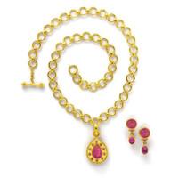 Elizabeth Lock Pink Venetian Glass Intaglio and Pink Sapphire Pendant