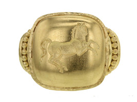 Elizabeth Lock Gold 'Rearing Horse' Ring