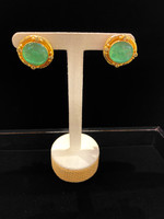 Elizabeth Locke Chrysoprase Venetian glass intaglio earrings