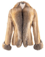 Sheared & Plucked Mink and Fox Trim Jacket