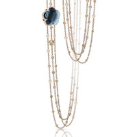 Pasquale Bruni 18k Rose Gold Bon Ton Necklace with London Blue Topaz and Diamonds