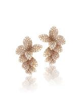 Pasquale Bruni Giardini Segreti 18k Rose Gold Diamond Flower Earrings
