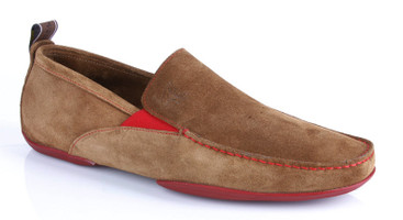 Michael Toschi Driving Shoes Onda Cinnamon Suede with Red Sole