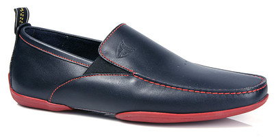Michael Toschi Driving Shoes Onda Navy with Red Sole