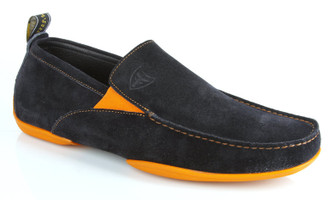 Michael Toschi Driving Shoes Onda Navy Suede with Orange Sole