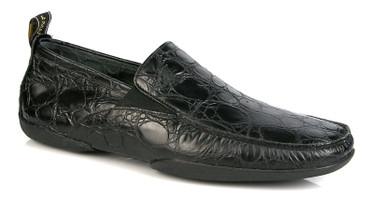 Michael Toschi Driving Shoes Onda Black Crocodile