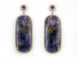 Ruth Taubman Blue Sapphire & Diamond Micropave Earrings
