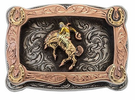 Bohlin Steriling Silver and Gold Bucking Horse Trophy Buckle- Small