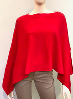Augustina's Embellished Shoulder Knitted Poncho in Red