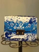 Custom Bag Designs Blue and Multi Paint