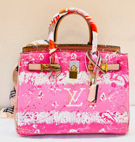 Custom Bag Designs Large Pink and Multi Paint