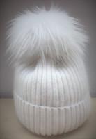 Augustina's Mohair Wool Pom Knit Beanie with White  Pom Pom