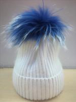 Augustina's Mohair Wool Pom Knit Beanie with Blue Pom Pom