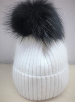 Augustina's Mohair Wool Pom Knit Beanie with Black Pom Pom