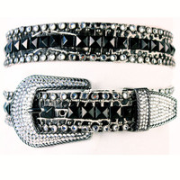 """Kippy's 1 1/4"""" Black and White Gator Leather Belt with Clear Stones"""
