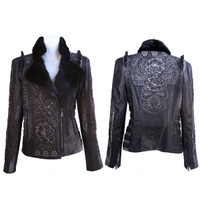 Kippy's Torero Embroidered 2010 Moto Jacket with Beaver Collar