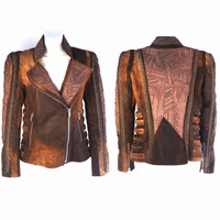 Kippy's Cubic Enigma 2010 Abstract Tan Moto Blazer