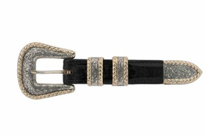 Comstock Heritage 4 pc. SS & 14K Rope Edge Buckle Set