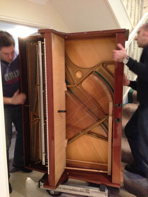 Zimmermann upright piano removal, ground to first floor
