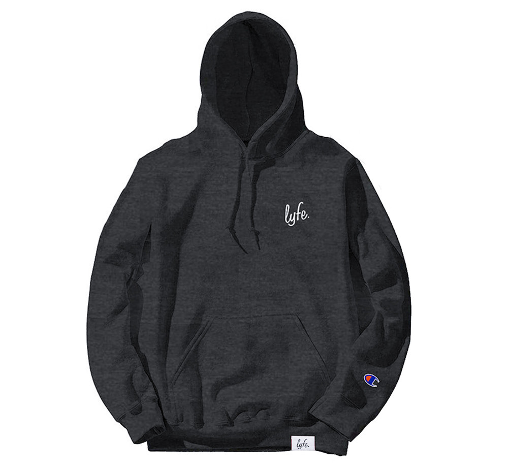 LYFE SCRIPT EMBROIDERED CHARCOAL HEATHER HOODIE
