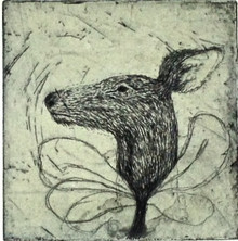 Gomez, Teresa Martorell, Biche, 2009, drypoint engraving, 7 x 7 in., signed by artist and numbered in lower margin
